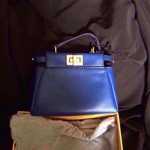 Micro blue peekaboo bag